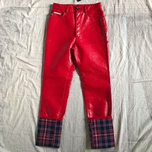 Marc Jacobs Red Faux Patent Leather Pants
